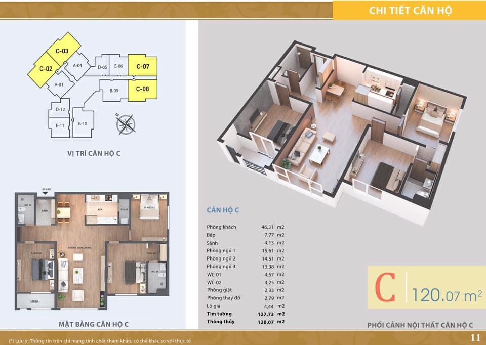 La Casta Tower - Căn hộ loại C - 3 phòng ngủ