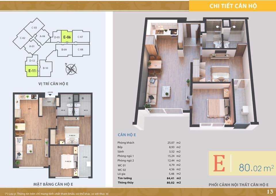 La Casta Tower - Căn hộ loại E - 2 phòng ngủ