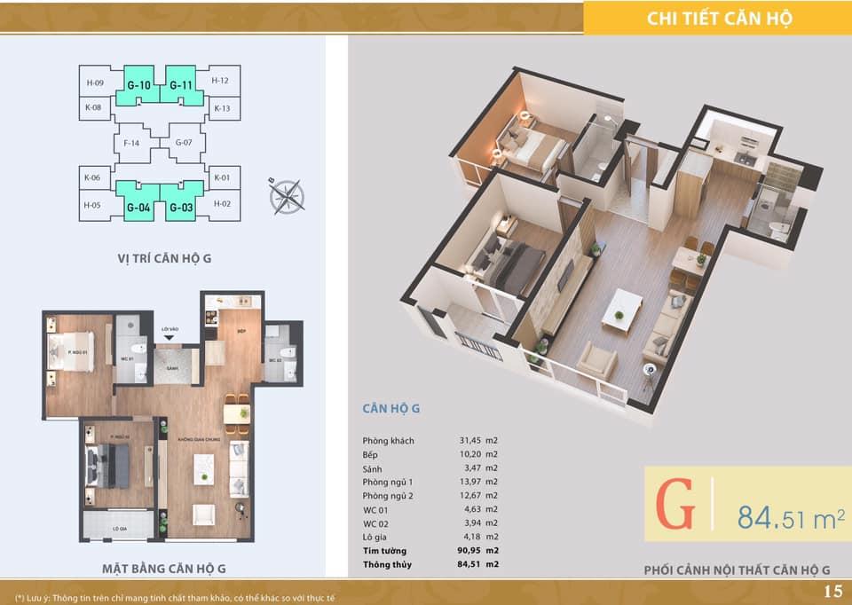 La Casta Tower - Căn hộ loại G - 2 phòng ngủ
